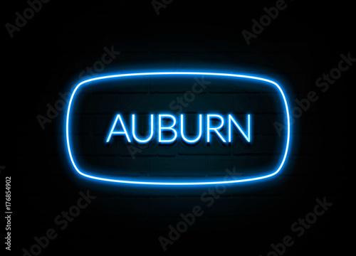 Auburn  - colorful Neon Sign on brickwall Wallpaper Mural