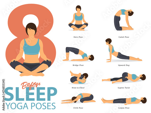 Fotografie, Obraz  A set of yoga postures female figures for Infographic 8 Yoga poses for exercise before sleep in flat design