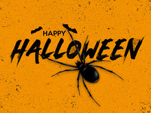 Happy Halloween Text Banner. Vector Illustration Of Halloween Signs And Symbols On Orange Background.