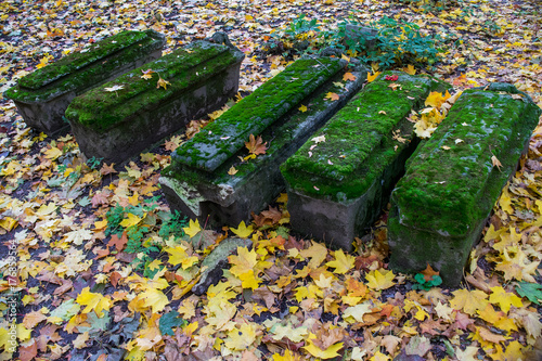 Valokuva  Old graves in the church yard of Church of the Beheading of John the Baptist in