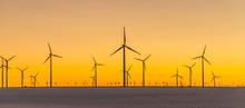 Wind Generators In Sunset