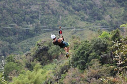 Zipline. Adventure in Puerto Rico. Caribbean island. Toro Verde Canvas Print