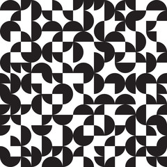 Panel Szklany Podświetlane Czarno-biały Geometric background, circles, black and white, seamless pattern, vector illustration