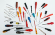 A collection of different type and sizes of screwdrivers