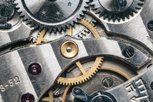 Mechanical Clock Mechanism In Motion Macro