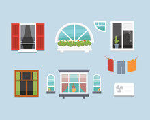 Different Interior Windows Of Various Forms Vector Illustration. Architecture Design Outdoor Or Exterior View, Building And Home Theme