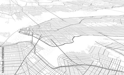 Fototapeta Wektorowa biała mapa Nowy York