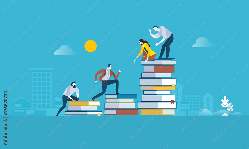Fototapeta Flat design style web banner for the path to success, levels of education, staff training, specialization, learning support. Vector illustration concept for web design, marketing, and print material.