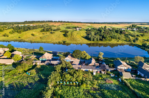Deurstickers Asia land Aerial view of Maloe Gorodkovo, a typical village on the Central Russian Upland, Kursk region of Russia