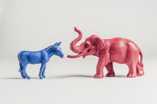 United States Democratic Donkey And Elephant Meet Face To Face