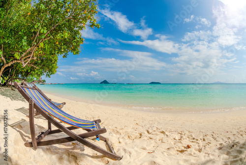 Photo Stands Tropical beach Beach chair on perfect tropical sand beach, Phi Phi Island, Thailand