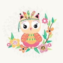 Cute Owl And Flowers