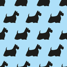 Seamless Pattern With Black Silhouettes Of Terriers.