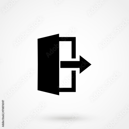 Exit Icon in trendy flat style isolated on grey background. Leave symbol for your web site design, logo, app Wall mural
