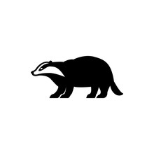 Vector Badger Silhouette View Side For Retro Logos, Emblems, Badges, Labels Template Vintage Design Element. Isolated On White Background