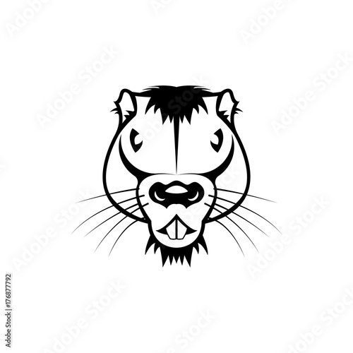 Vector Beaver Head Face For Retro Hipster Logos Emblems Badges