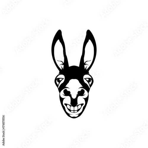 Stampa su Tela Vector donkey head, face  for retro hipster logos, emblems, badges, labels template and t-shirt vintage design element