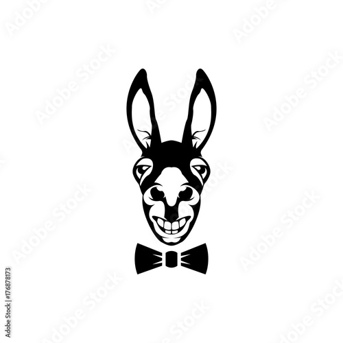 vector donkey head face for retro hipster logos emblems badges