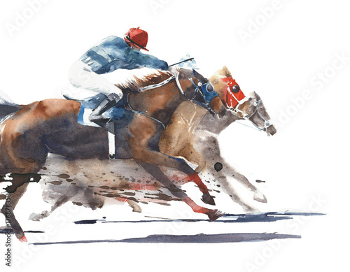 Horse race competition derby racing horses with jockeys watercolor painting illu Wallpaper Mural