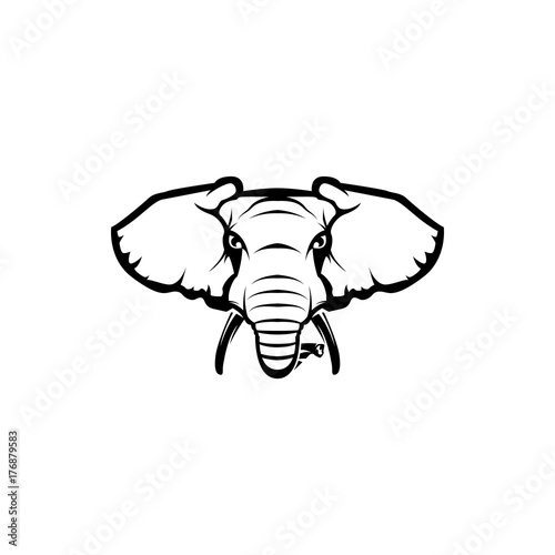 vector elephant head face for retro hipster logos emblems badges