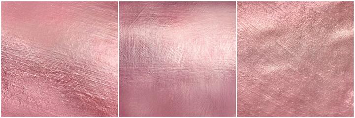 Fototapeta Set rose gold metal texture. Luxure elegant soft foil background.