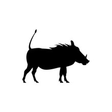 Vector Warthog Silhouette View Side For Retro Logos, Emblems, Badges, Labels Template Vintage Design Element. Isolated On White Background