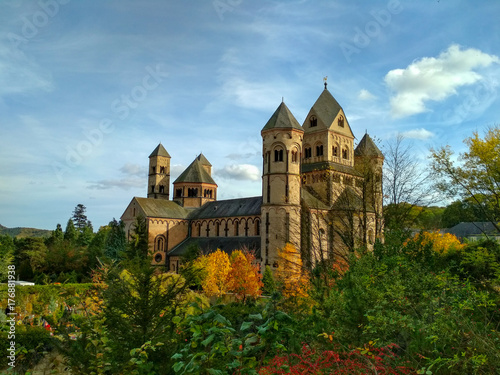 Old medieval benedictine Abbey in Maria Laach, Germany, first founded in 1093 - Canvas Print