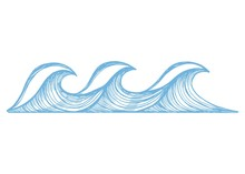 Sea Blue Waves With Foam Sketch. Vector Illustration Hand Drawing