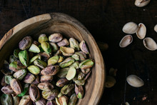 Shelled Pistachio Nuts In A Wo...