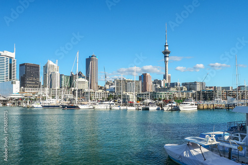 Auckland Harbor and Sky tower, the landmark in NZ. Canvas Print