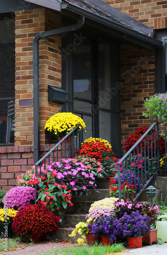 Seasonal House Outdoor Decoration Main Entrance Stair And Porch Of