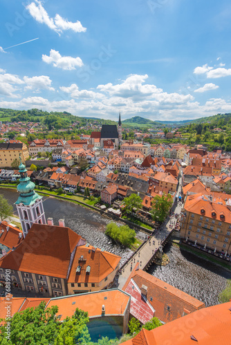 Cesky Krumlov City In Vertical From Aerial View With River Perfect Sunny Day