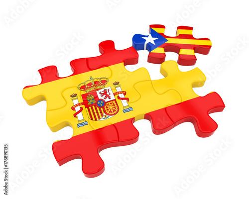 Plakat Puzzle Hiszpanii i Katalonii Flagi na białym tle