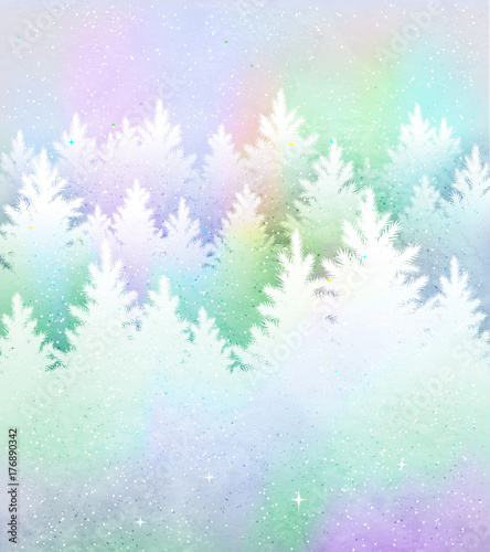 Christmas background with frosty winter forest Wallpaper Mural