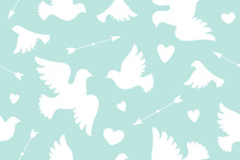 Seamless Pattern With White Love Doves, Hearts, Arrows. Symbol And Sign Of Love On Color Background. Graphic Design Wrapping Paper, Wallpaper, Background For Valentine Day. Vector Illustration
