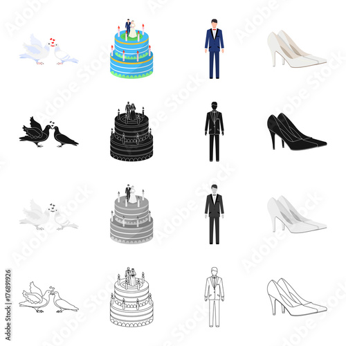 Fototapety, obrazy: Pigeons, wedding cake, groom, bride s shoes. Wedding set collection icons in cartoon black monochrome outline style vector symbol stock isometric illustration web.