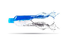 Abstraction.A Bottle Of Liquid That Dissolves And Turns Into Water.
