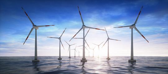 Windpark im Ozean im Sonnenuntergang