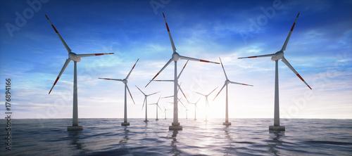 Fotografía  Windpark im Ozean im Sonnenuntergang
