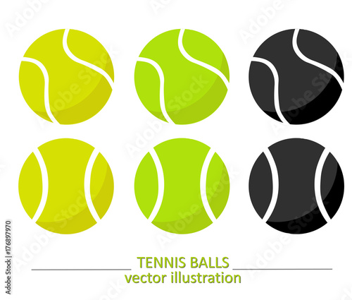 Fotografie, Obraz Set of yellow, green and black tennis balls