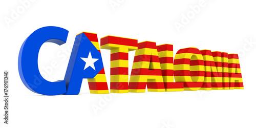 Plakat Słowo Katalonia z flaga państowowa Odizolowywającą