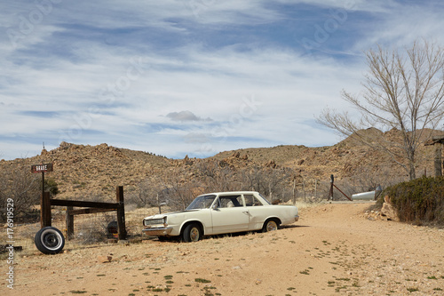 In de dag Route 66 Abandoned car