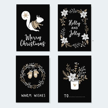 Set Of Cute Christmas Greeting Cards, Invitations With Squirrel, Wreath Glowes And Winter Flowers. Hand Drawn Illustrations, Flat Design With Black Background.