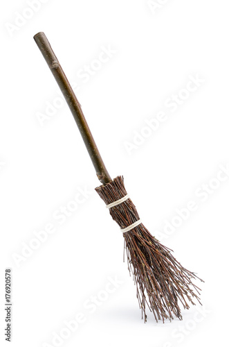 Witch's magic broom isolated on white background Canvas Print