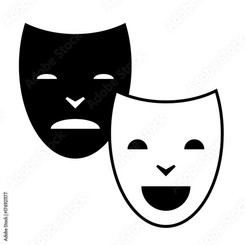 Pleasure And Pain Masks Symbol Pictogram Sign Black And White