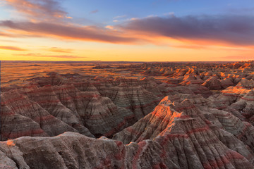 The sun rises over Badlands National Park, South Dakota
