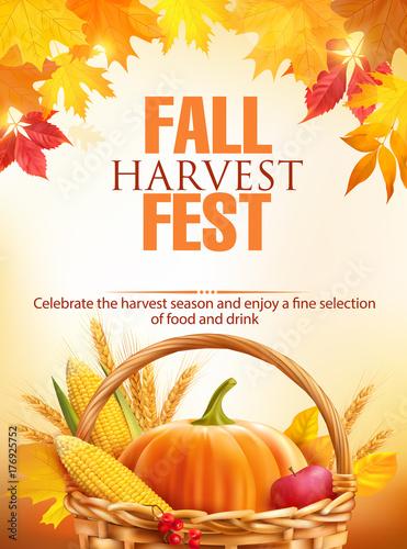 Fotografie, Obraz  Fall Harvest Fest poster design. Vector illustration.