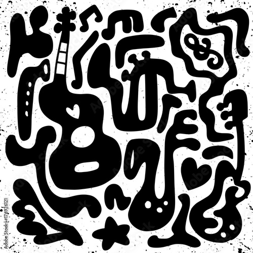 Abstract Music Background , vector illustration. Collage with musical instrum...