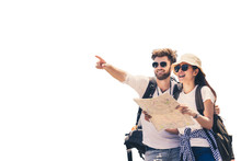 Multi Ethnic Couple Look At Map While Pointing Finger In The Direction Of Destination. Travel Concept. Honeymoon Trip, Backpacker Tourist, Asia Tourism Or Holiday Vacation Travel Concept. Isolated.