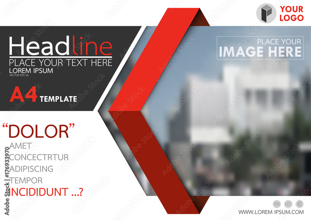 Fototapeta Red and black flyer cover business brochure vector design, Leaflet advertising abstract background, Modern poster magazine layout template, Horizontal annual report for presentation.